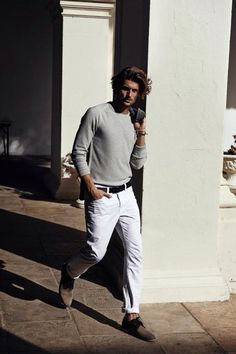Spring / Summer - casual style - white pants + black belt + light gray round neck sweater + dark gray blazer + light brown and black suede derby shoes