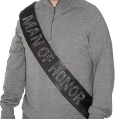 Man of Honor Rhinestone Sash - 3 Rows of Rhinestones on a premium double layer satin sash! Available in 6 Colors!