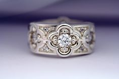 Wedding Band, Renaissance Ring, Band with White Topaz, Sterling Silver Ring, Wide Band on Etsy, $185.00
