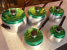 Rare Set of Vintage Retro JASON JASMIN Green Anodised Top Aluminium 5 Pan Set QQ in Home & Garden | eBay