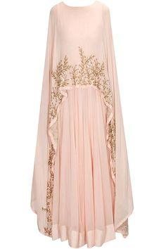 Prathyusha Garimella presents Blush pink embellished cape gown/anarkali available only at Pernia's Pop Up Shop. Abaya Fashion, Muslim Fashion, Modest Fashion, Indian Fashion, Fashion Dresses, Pakistani Dresses, Indian Dresses, Indian Outfits, Abaya Mode