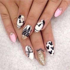 Fancy nail art designs with disney for oval nails Fancy Nails, Cute Nails, Pretty Nails, Disney Nail Designs, Cute Nail Designs, Pedicure Designs, Hair And Nails, My Nails, Oval Nails