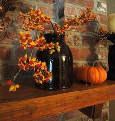Autumn Mantle display with beautiful brown jar