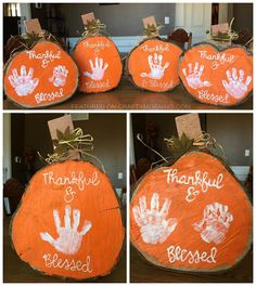 "Handprint Wood Slice Pumpkins - Cute Thanksgiving/fall craft for the kids! ""Thankful and Blessed"" Handprint Wood Slice Pumpkins - Cute Thanksgiving/fall craft for the kids! Thankful and Blessed Thanksgiving Crafts For Kids, Thanksgiving Decorations, Fall Toddler Crafts, Fall Decorations, Halloween Crafts, Holiday Crafts, Holiday Decor, Autumn Crafts, Holiday Activities"