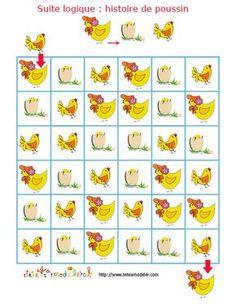 jeu pour enfant à imprimer : suite logique une histoire de poussin- Tête à modeler