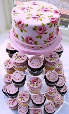 Floral cupcake tower