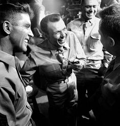 """francisalbertsinatra: """" Burt Lancaster, Frank Sinatra, and Ernest Borgnine on the set of From Here to Eternity photographed by Bob Willoughby """" Hollywood Music, Hollywood Actor, Golden Age Of Hollywood, Hollywood Stars, Classic Hollywood, Old Hollywood, Hollywood Glamour, Lancaster, Fred Zinnemann"""
