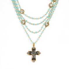The Magdalena has been a VSA Classic as it is most versatile in style Wear open and long or layered The turquoise beads are reminiscent of sandy white beaches & Carribean oceans -Plated Bronze -Medallion is covered with a resin finish & is detachable - Length 12.5-14.5 inches plus medallion -Toggle Closure - Faceted Bicone crystals beads that add a POP of color -Handmade in San Miguel Allende Turquoise Water, Turquoise Beads, Turquoise Necklace, Crystal Beads, Crystals, White Sand Beach, Beaches, Color Pop, Plating