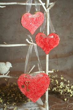 Valentines Day Clay Hearts. Could make these.
