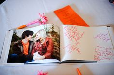 Eric and Lauren did this---make a book of your engagement pictures and have people sign the blank pages with words of encouragement.