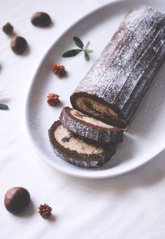 Chocolate Roll with Chestnut Cream and Marrons Glacés
