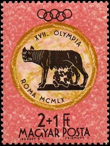 Sello: Romulus & Remus with She-wolf (statue) (Hungría) (Summer Olympic Games 1960 - Rome ) Mi:HU 1666 Romulus And Remus, Sell Stamps, Stamp Catalogue, She Wolf, Summer Olympics, Olympic Games, Postage Stamps, Statue, Rome Italy