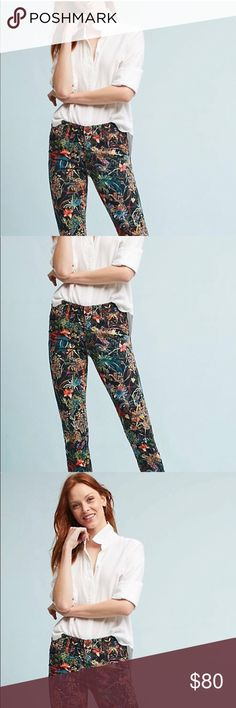 """Whimsical, Magical Pilcro Skinnies!😍😍 Anthropologie Pilcro Letterpress have outdone themselves with these lovelies!  These are a treasure and compliment to any wardrobe 😍. These mid-rise skinny leg look ad though they are painting with beautiful rich pigmentation!  They belong to the Anthropologie beautiful exclusive collection. Crafted from the highest quality denim yarns - a seamless collection of cotton and spandex. Measurements laying flat,  Waist 26.5"""" Hips 37.5"""" and 28"""" Inseam. New…"""