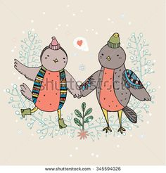 Vintage card with cute hand drawn birds are falling in love. - stock vector #love #Valentine's #Day