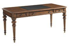 Casey Leather-Top Writing Desk, Ebony on OneKingsLane.com