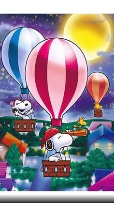 Snoopy And Woodstock Taking A Night Time Hot Air Ballon Ride - Very Nice Snoopy Diamond Painting With Some Peanuts Character Faves - Comes In Both Round And Square Drill Diamond - Various Sizes AvailableNew Diamond Painting Kits arriving daily. Snoopy Images, Snoopy Pictures, Peanuts Cartoon, Peanuts Snoopy, Paz Hippie, Snoopy Comics, Snoopy Wallpaper, Famous Dogs, Paintings Famous