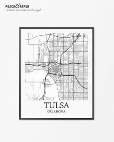 Tulsa Map Art Print Tulsa Poster Map of Tulsa by PeachandPaper