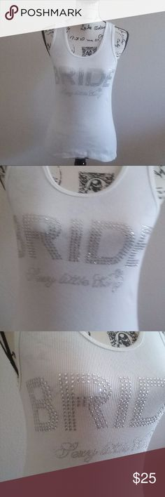 """VS Sexy Little Thing Bride Bling Tank Size Medium Super cute Victoria's Secret white bling Sexy Little Thing Bride tank top with cute liitle aqua bow on the back, measures approximately 22.5"""" long from back collar and 15.5"""" underarm to underarm, size medium. Victoria's Secret Tops Tank Tops"""