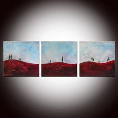 Miniature Landscapes - Original Abstract Textured Painting with Certificate of Authenticity - See the close ups. $120.00, via Etsy.