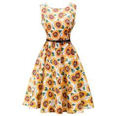 Retro High Waisted Sunflower Dress (PASTER ORANGE,XL) in Vintage Dresses | DressLily.com