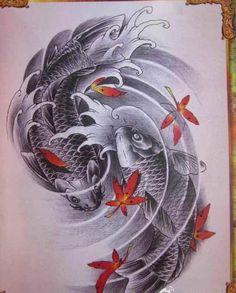 Kio Fish Tattoo, Koi Fish Tattoo Forearm, Koi Tattoo Sleeve, Dragon Tattoo Arm, Cool Half Sleeve Tattoos, Japanese Tattoo Designs, Japanese Tattoo Art, Japanese Sleeve Tattoos, Geisha Tattoo Design