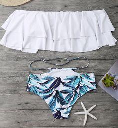 5a9b7696795 Fashion Upper White Lotus Layered Off Shoulder Bottom Green Leaf Print Two  Piece Bikini