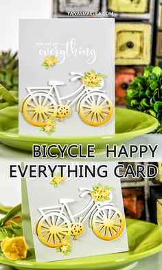 Spellbinders | You Are My Everything Card using S3-282 Die D-Lites Bicycle Etched Dies. Project by Yana Smakula