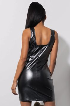 Back View Ultralight Beam Bodycon Mini Dress in Charcoal Black Satin Dresses, Nice Dresses, Dress Skirt, Bodycon Dress, Celebrity Style Casual, Black Leather Mini Skirt, Leder Outfits, Latex Dress, Fashion Nova Models