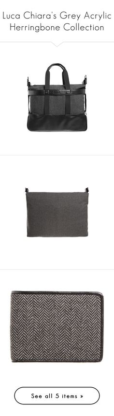 """Luca Chiara's Grey Acrylic Herringbone Collection"" by lucachiara on Polyvore featuring bags, luggage, accessories, wallets, grey bag, bill fold wallet, gray bag, faux leather wallet, vegan leather bags and men's fashion"