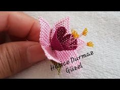 Fuchsia making - Welcome to the video of the needlework series. In this video, we made you a Christmas flowe - Diy Flowers, Crochet Flowers, Needle Lace, Fuchsia, Hand Embroidery Designs, Needlework, Crochet Earrings, Diy And Crafts, Make It Yourself