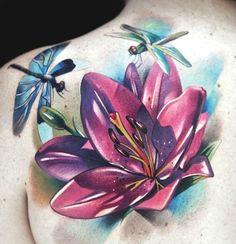 lily flowers tattoo 3 - 60 Beautiful Lily Tattoo Ideas