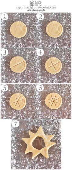 Sapin brioché, ou juste étoile, j'ai trouvé l'idée vraiment sympa ! On peut même la décliner en petits pains. Je vous ai fait un pas à pas en photo. Y a plus qu'à !