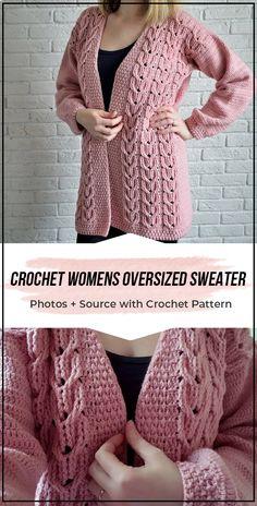 Crochet Womens Oversized Sweater pattern easy crochet sweater pattern for beginners - Cardigans - Ideas of Cardigans Pull Crochet, Gilet Crochet, Mode Crochet, Crochet Motifs, Crochet Winter, Crochet Cardigan Pattern, Crochet Poncho, Easy Crochet, Crochet Sweaters
