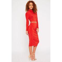 Saylor Red Slinky Gathered Midi Skirt-4 (49 SEK) ❤ liked on Polyvore featuring skirts, red, white midi skirt, shirred skirt, red knee length skirt, calf length skirts and mid calf skirts