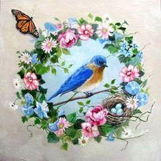 Susan Rios Bluebird of Happiness Mini Art - Susan Rios Minis - Roses And Teacups