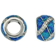Sterling Silver Blue Synthetic Opal Inlay Barrel Bead Charm 7.5mm Hole w/ CZ stones, 3/8 inch