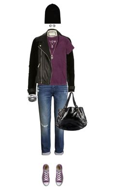 """""""Purple Shoes"""" by ittie-kittie ❤ liked on Polyvore featuring Converse, River Island, H&M, Forever 21, Gucci, William Sharp, Liz Claiborne and PurpleShoes"""