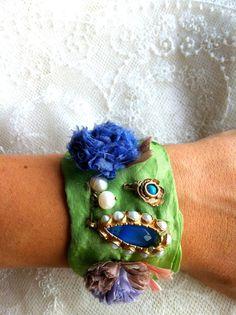 GREEN SCARF BRACELET by mydaughtersjewelry on Etsy, $32.00