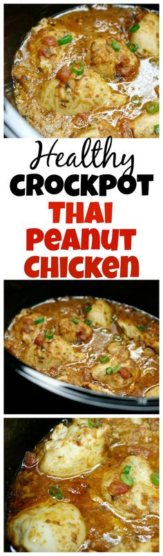 This healthy crockpot Thai peanut chicken is bursting with flavour and so simple to make. It's sure to become afamily favourite. Low carb, clean eating, gluten free, dairy free