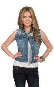 Eni Jeans Denim Vest with Lace Trim | Cavender's