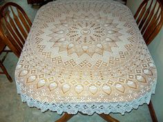Tablecloth Crocheted 70 inch Pineapple and Web by AngpangeCrochets, $200.00