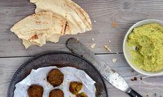 Gluten-free butternut falafel with nut-free broad-bean hummus