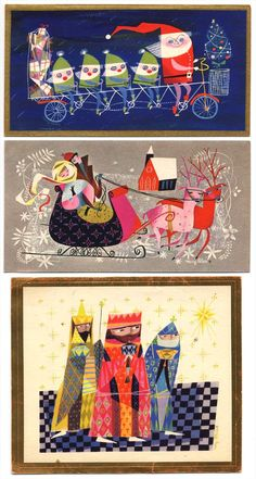 """""""Countdown to Three Christmas Cards designs by Mary Blair, sold at mass-market retailers Vintage Christmas Images, Retro Christmas, Christmas Art, Christmas Parties, Rabbit Illustration, Illustration Art, Mary Blair, Christmas Graphics, Back Art"""