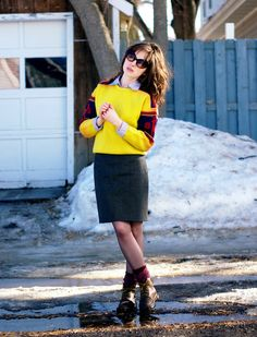 Love the banded arms on the yellow sweater and it's paired nicely with a collared shirt and grey skirt - from the ModCloth Style Gallery!  #indie #style