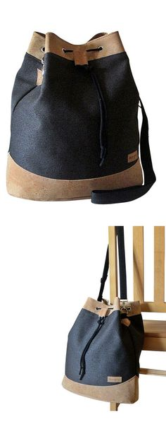 Bucketbag-Umhängetasche aus Leder und Korkstoff - Idee in der Werkschau auf Makerist.de