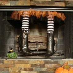 Create your own sneaky little fireplace witch with thrift store boots and this easy how-to.