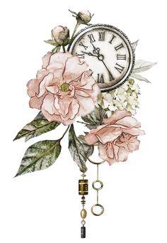 Time changes so many things. - Art/Drawings/Paints/Tattoos etc. Rose Vintage, Vintage Flowers, Vintage Style, Vintage Flower Prints, Clock Drawings, Art Drawings, Watercolor Flowers, Watercolor Paintings, Clock Vintage