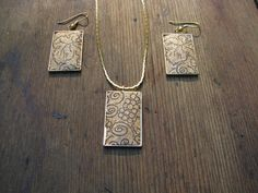 recycled cork necklace and earrings $25.00