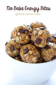No Bake Energy Bites | gimmesomeoven.com  Made these this weekend and they are AWESOME!!  My 9 year old is now asking for these as a snack rather than junk food!  :)