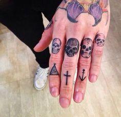 http://tattooideas247.com/wp-content/uploads/2014/10/Skulls-On-Fingers.jpg Skulls On Fingers #FingerTattoo, #FingerTattoos, #SkullTattoo, #SkullTattoos